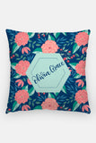 Pillow - Custom name - Tropical - Blue and pink - howjoyfulshop