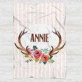 Fleece Blanket - Southwest boho antlers watercolor - howjoyfulshop