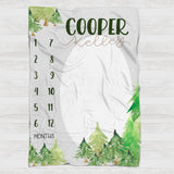 Fleece Blanket - Watch me grow - Forest woodland - howjoyfulshop