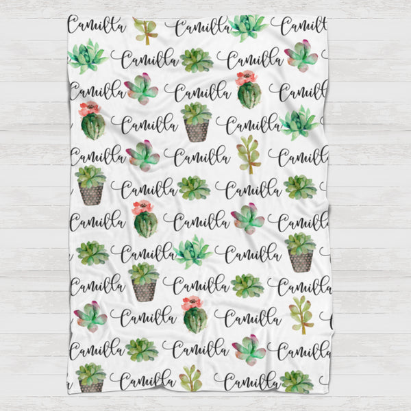 Fleece Blanket - Custom names and succulents - 0P53 - howjoyfulshop