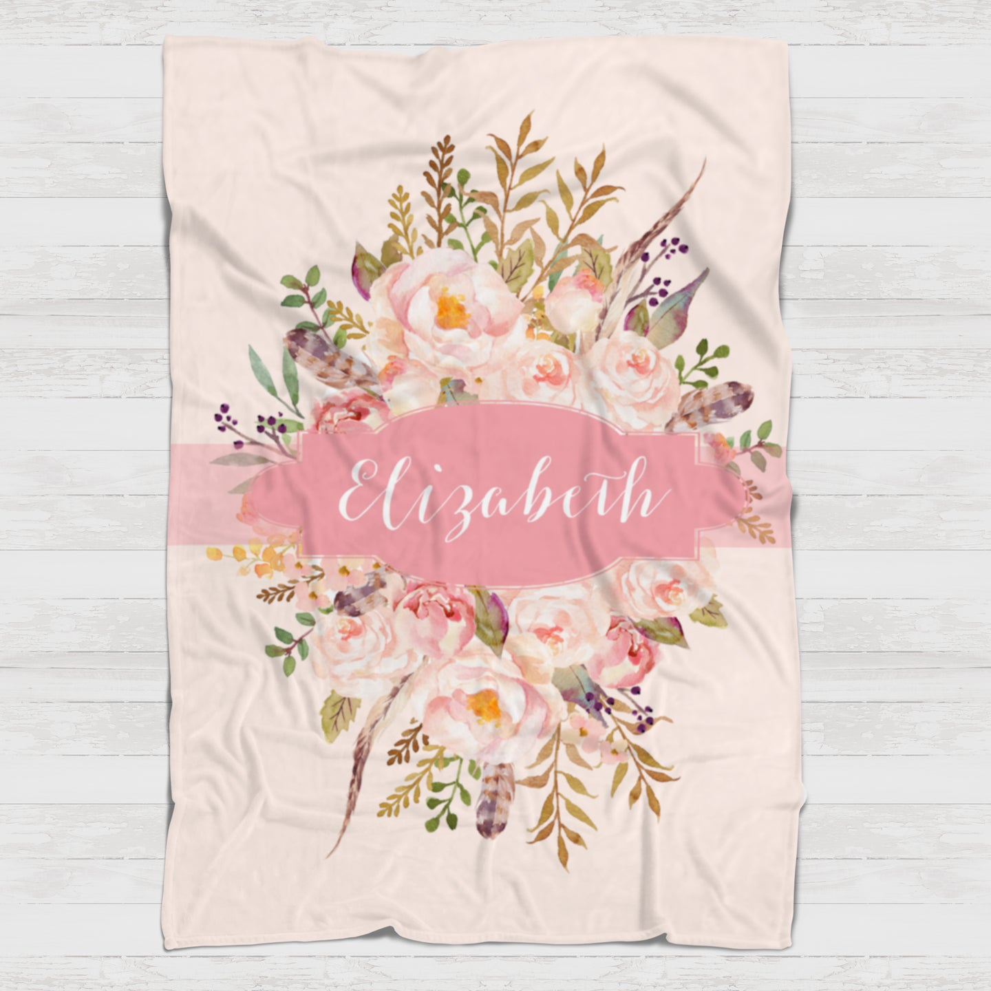 Fleece Blanket - Pink Southwest boho watercolor - howjoyfulshop
