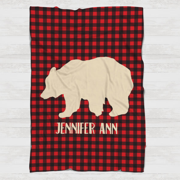 Fleece Blanket - Buffalo plaid red bear - howjoyfulshop