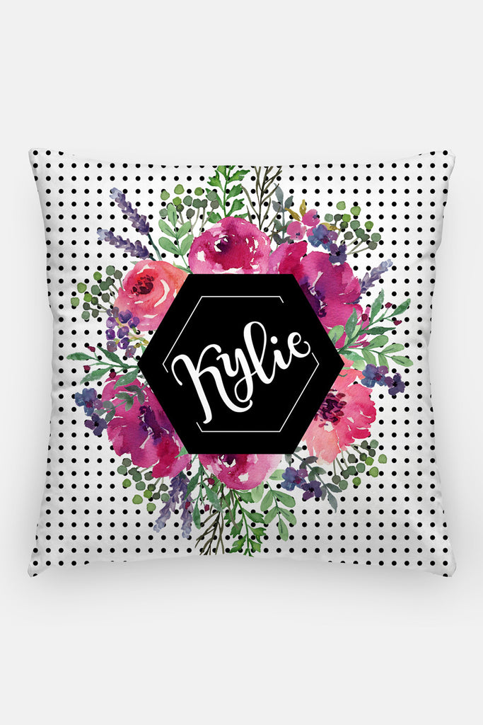 Pillow - Custom name - Watercolor dots - Black and pinks