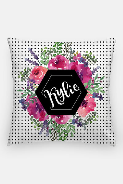 Pillow - Custom name - Watercolor dots - Black and pinks - howjoyfulshop
