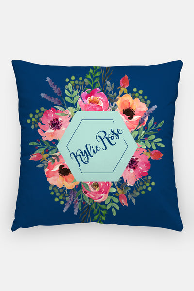 Pillow - Custom name - Watercolor blooms - Blue and pink