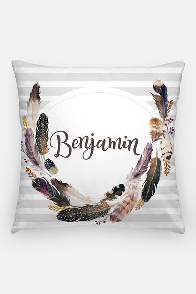 Pillow - Custom name - Watercolor feathers - howjoyfulshop