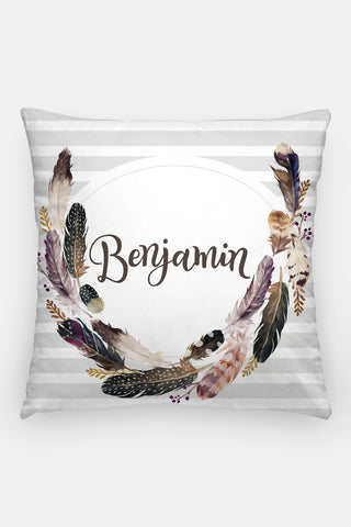 Pillow - Custom name - Watercolor feathers