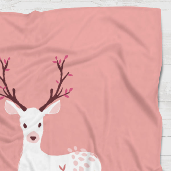 Fleece Blanket - Pink deer - howjoyfulshop