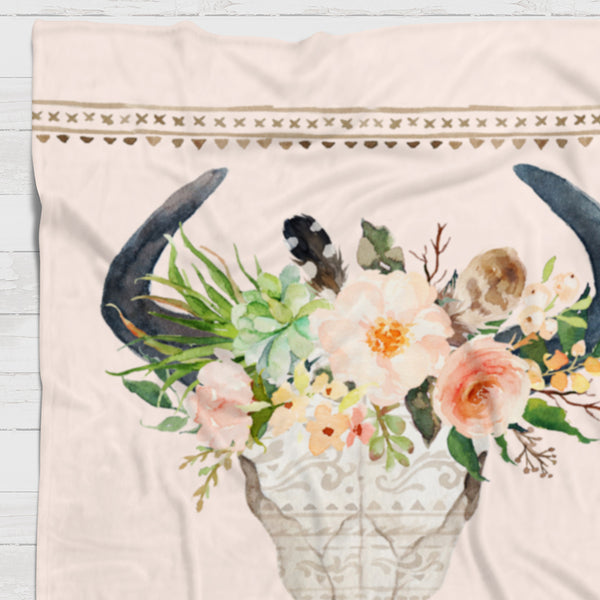 Fleece Blanket - Boho watercolor skull and flowers - howjoyfulshop