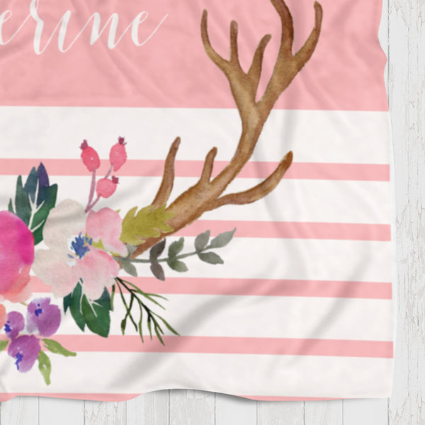 Fleece Blanket - Pink watercolor flowers and antlers - howjoyfulshop