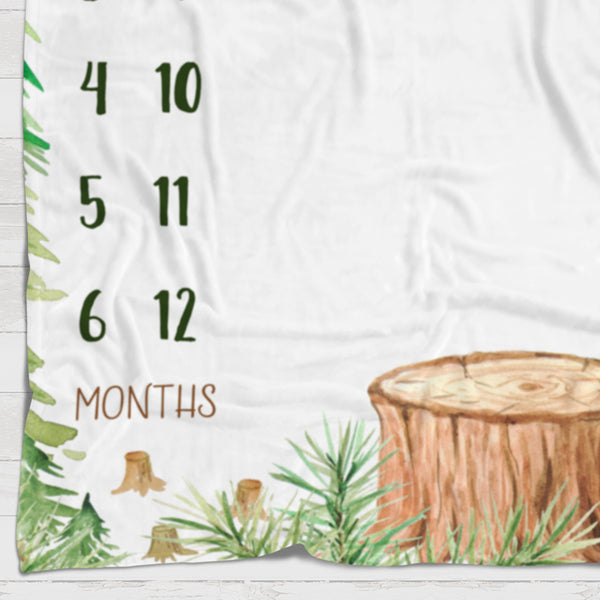 Fleece Blanket - Watch me grow - Forest growing tree - howjoyfulshop