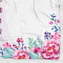 Load image into Gallery viewer, Fleece Blanket - Watch me grow - Pink and purple blooms - howjoyfulshop