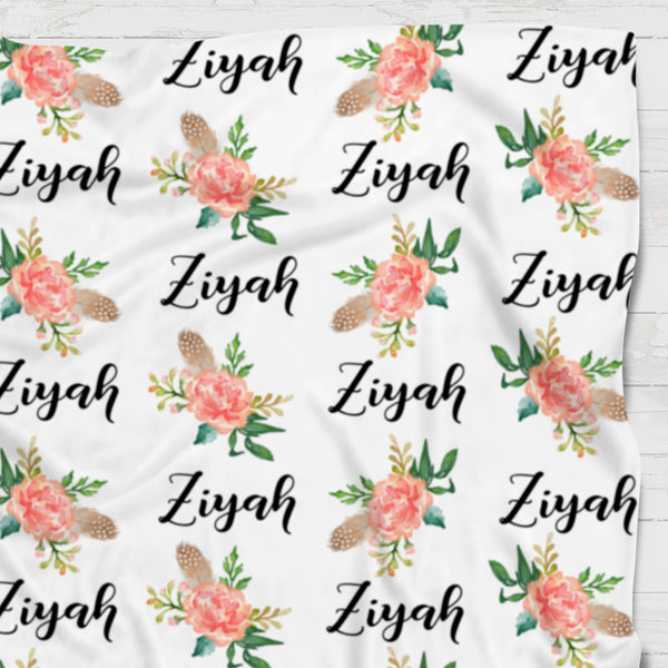 Fleece Blanket - Custom name and blooms - Feather and orange - 0P51 - howjoyfulshop