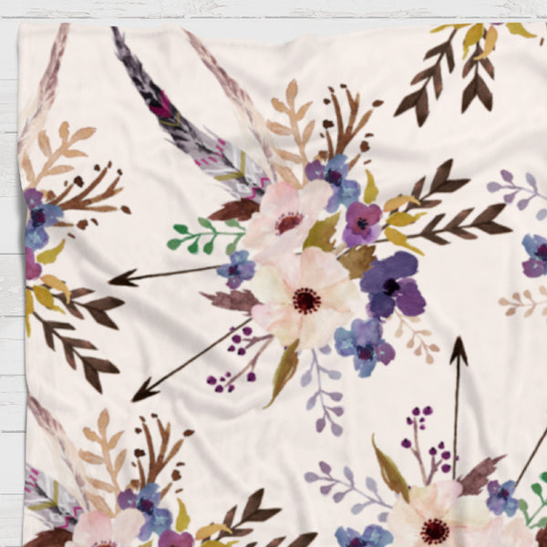 Fleece Blanket - Purple arrows blooms bouquets watercolor - howjoyfulshop