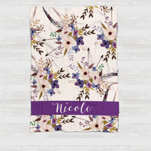 Load image into Gallery viewer, Fleece Blanket - Purple arrows blooms bouquets watercolor - howjoyfulshop
