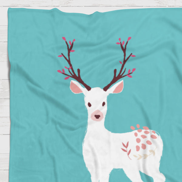 Fleece Blanket - Full deer with custom name - howjoyfulshop