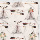 Fleece Blanket - Soft watercolor teepee western boho - howjoyfulshop