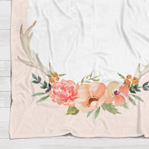 Fleece Blanket - Watch me grow - Peach watercolor flowers - howjoyfulshop