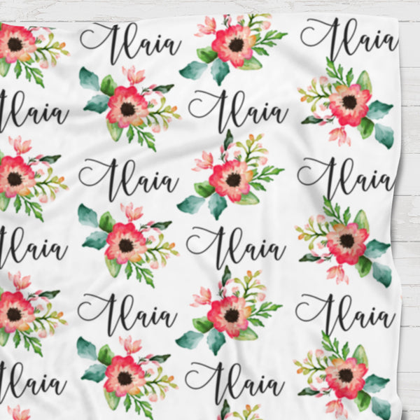 Fleece Blanket - Custom name and blooms - Red and green - 0P52 - howjoyfulshop