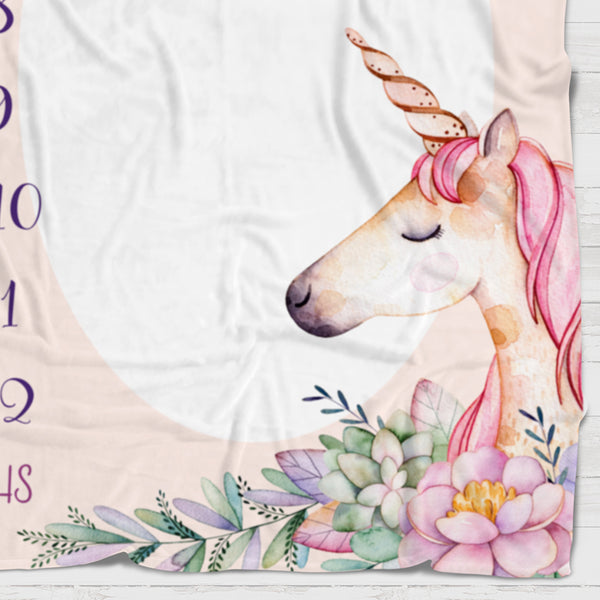 Fleece Blanket - Watch me grow - Pink unicorn - howjoyfulshop