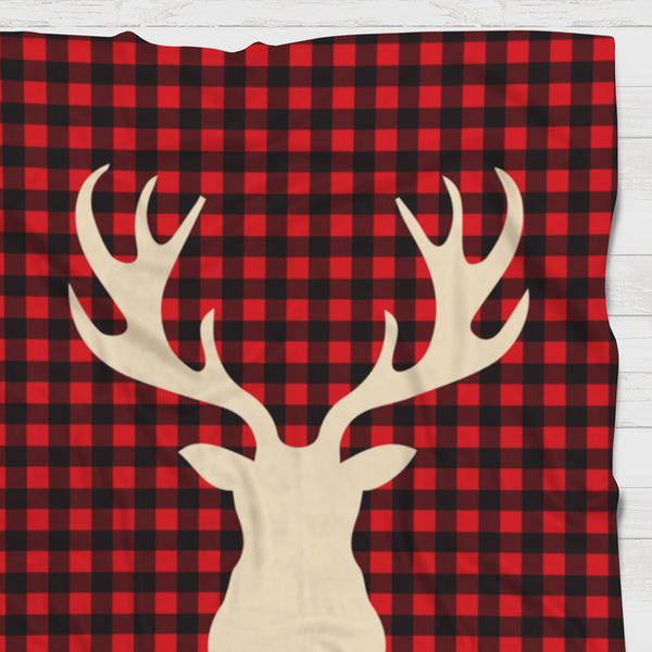 Fleece Blanket - Buffalo plaid red deer head - howjoyfulshop