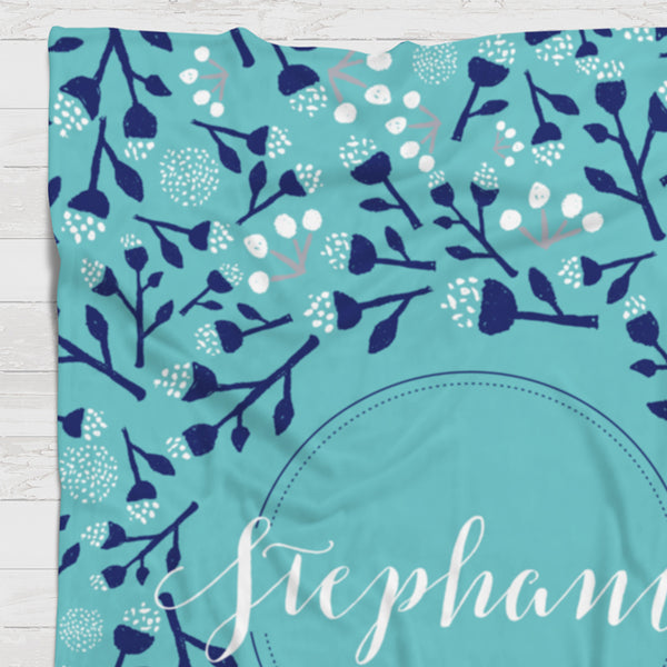Fleece Blanket - Custom name background blooms - howjoyfulshop
