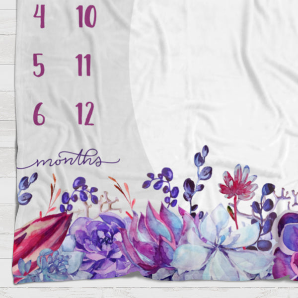 Fleece Blanket - Watch me grow - Purple blooms - howjoyfulshop