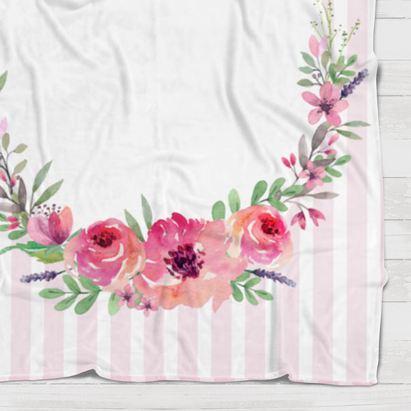 Fleece Blanket - Watch me grow - Watercolor pink flowers - howjoyfulshop