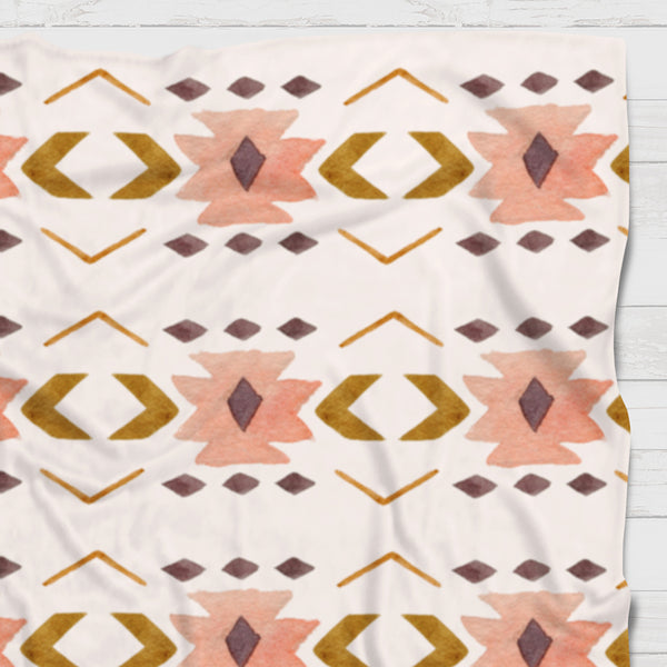 Fleece Blanket - Peach and brown western boho - howjoyfulshop
