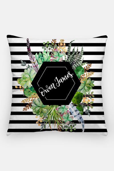 Pillow - Custom name - Watercolor succulents - Black and green