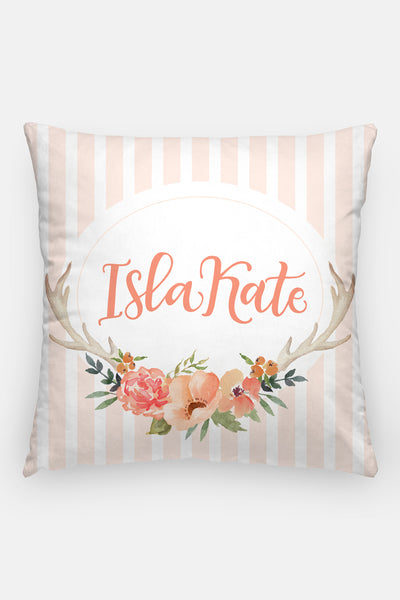 Pillow - Custom name - Watercolor peach blooms - howjoyfulshop