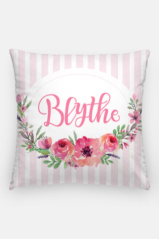 Pillow - Custom name - Watercolor pink blooms