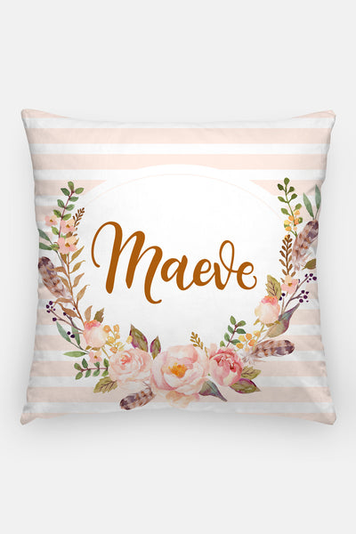Pillow - Custom name - Watercolor vintage roses - howjoyfulshop