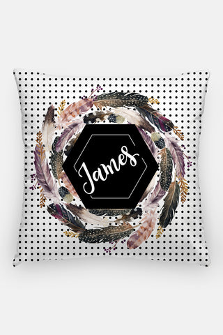 Pillow - Custom name - Watercolor feathers - Black and browns