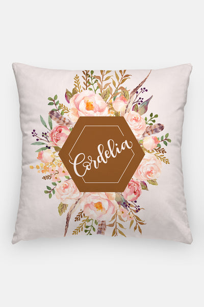 Pillow - Custom name - Watercolor roses - Vintage brown - howjoyfulshop