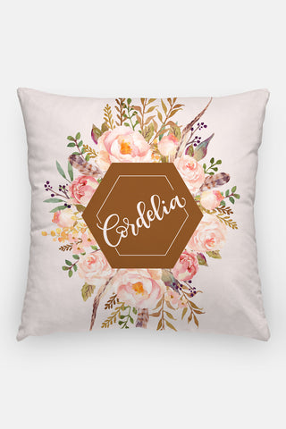 Pillow - Custom name - Watercolor roses - Vintage brown