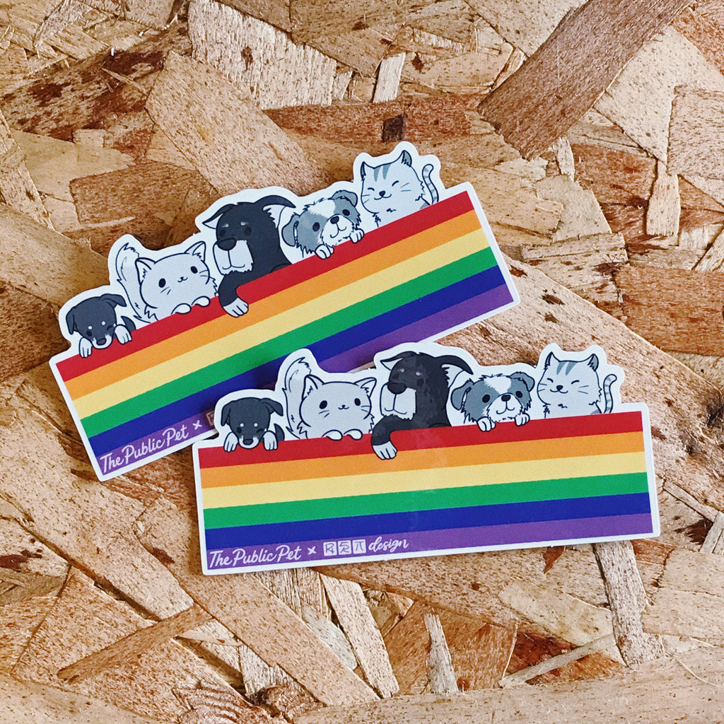 Cats & Dogs Rainbow Sticker