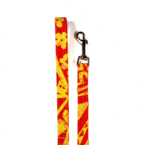 EMN - RED AND YELLOW TAPA FABRIC LEASH