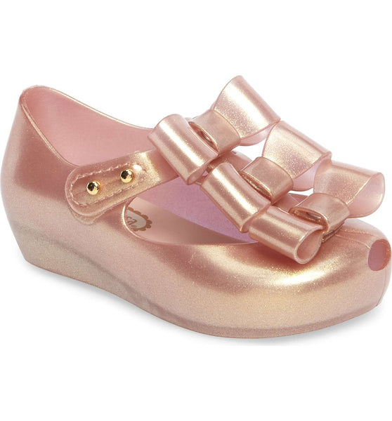Mini melissa metallic pink triple bow