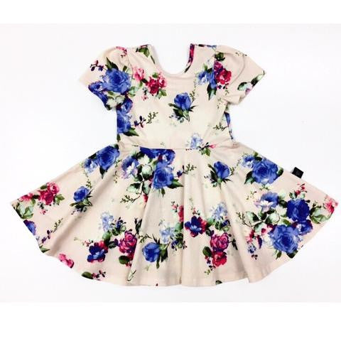 Fit & Flare Dress- Blue Floral