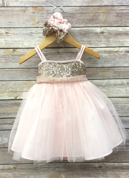 Gold and Pink Sparkle Princess Tutu Outfit; Gold and Pink Birthday tulle tutu dress; Toddler Sparkle Gold Tutu; Gold party dress 6m-14
