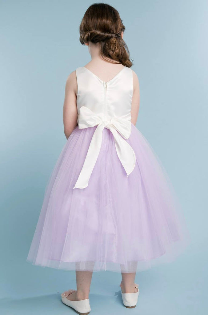 Purple Lilac lavender Elegant Satin and Tulle Flower Girl Dress Comes in Various Colors sizes 6m to 16y