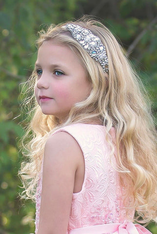 Rhinestone headband Stain , blush headband, dusty rose headband, flower girl headband, wedding headband, dressy headband, flower crown