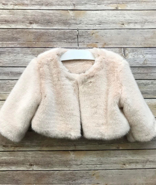 Faux Fur Flower Girl Jacket Coat Capelet Faux Fur Bolero Wedding Jacket Shrug cover up
