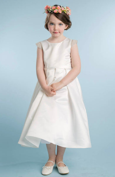 Satin Girls Christening Dress/Baptism Dress/white church dress/christening gown/baby baptism gown/Girls First Communion satin gown