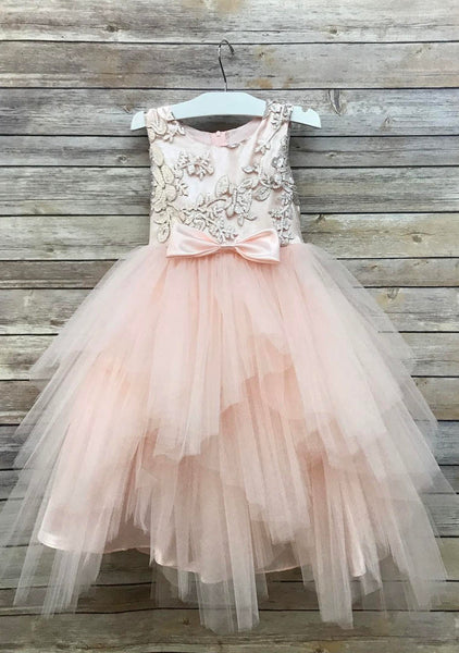 Sequin Top Flower Girl Glam Dress Sizes 2-12 Navy, Blush, Champagne, Red, Gold Sequin Top Dress Tulle Skirt Tiered