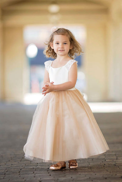 Satin top with beautiful lace on the sleeves, Create your own. Lace Sleeves, Flower girl dress first communion dress.