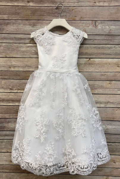 Lace Flower Girl Dress - Birthday Holiday Wedding Party Bridesmaid Ivory Tulle Lace Flower Girl Dress