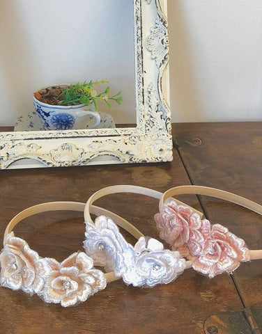 Flower girl headband blush pink, champagne or white 3d flowers