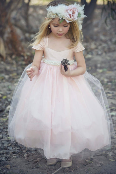 Beautiful Blush Pink and Ivory Raw Silk Flower Girl Special Occasion Dress Pear Belt Sash